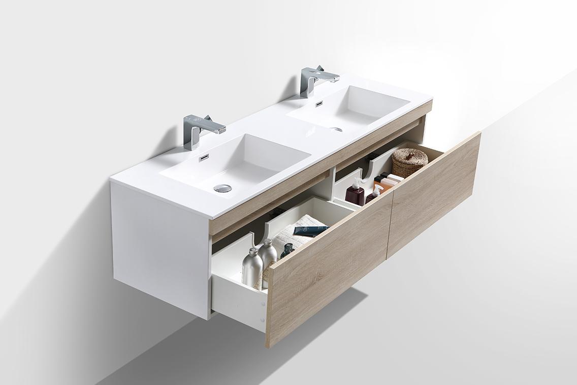 Badmöbel-Set Easy 1600 Weiß - Front Eiche hell - Seitenschrank und Spiegel optional – Bild 4