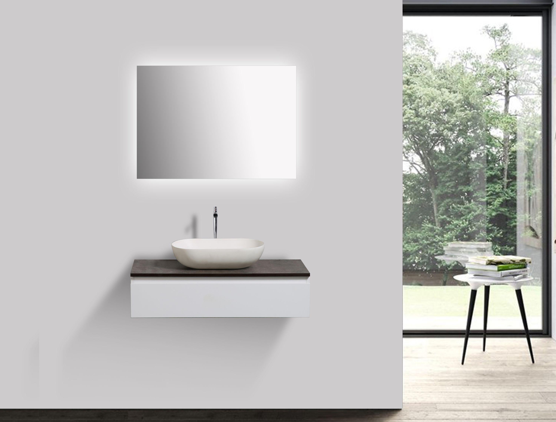 Composizione Di Mobili Vision 800 Bianco Opaco Specchio E Lavabo