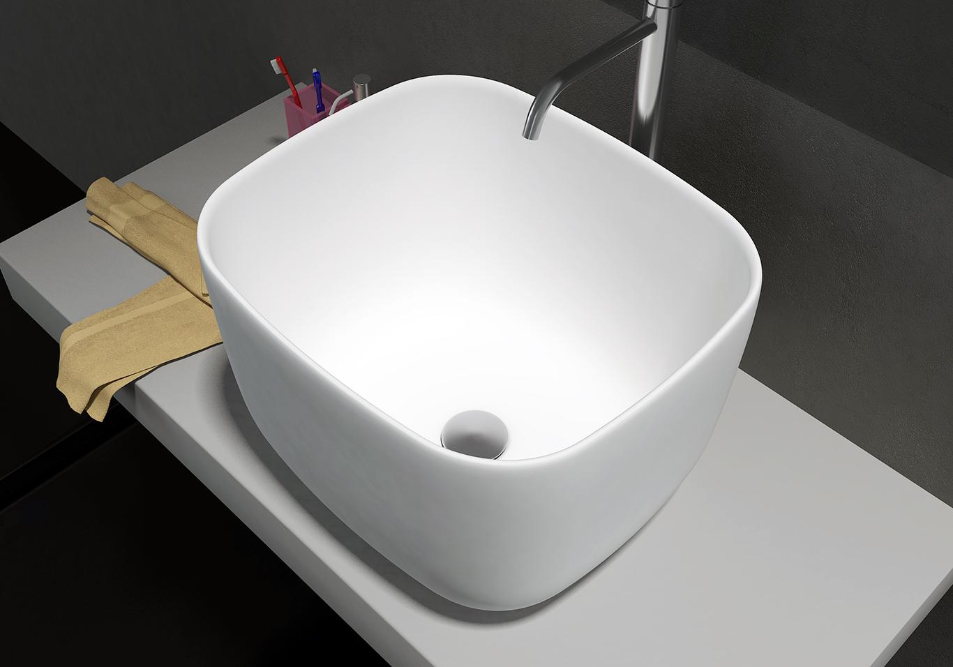 Vasque à poser PB2094 en pierre solide (Solid Surface)  - 46 x 40 x 30,3 cm - blanc mat