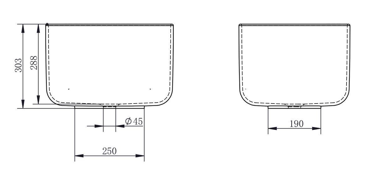 Aufsatzwaschbecken PB2094 aus Mineralguss - 46 x 40 x 30,3 cm - Weiß matt – Bild 4