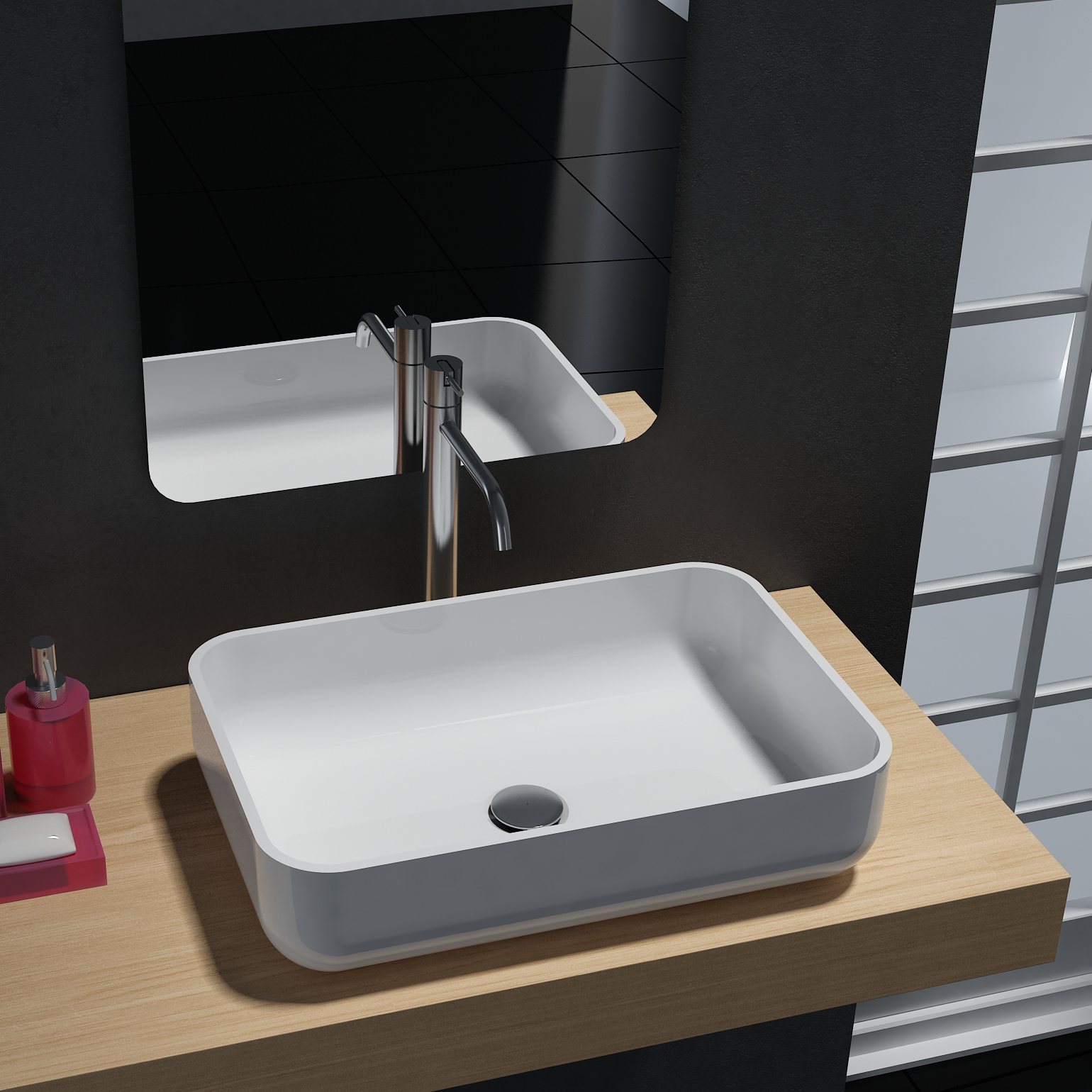Countertop wash basin PB2133 - mineral cast - glossy black, matt white or  glossy black/white - 54 x 36 x 13 cm