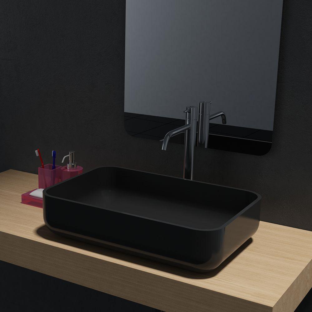 Aufsatzwaschbecken PB2133 aus Mineralguss - in Weiß oder Schwarz - 54 x 36 x 13 cm – Bild 3