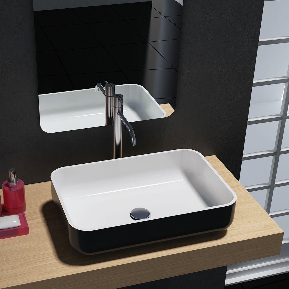 Aufsatzwaschbecken PB2133 aus Mineralguss - in Weiß oder Schwarz - 54 x 36 x 13 cm – Bild 2