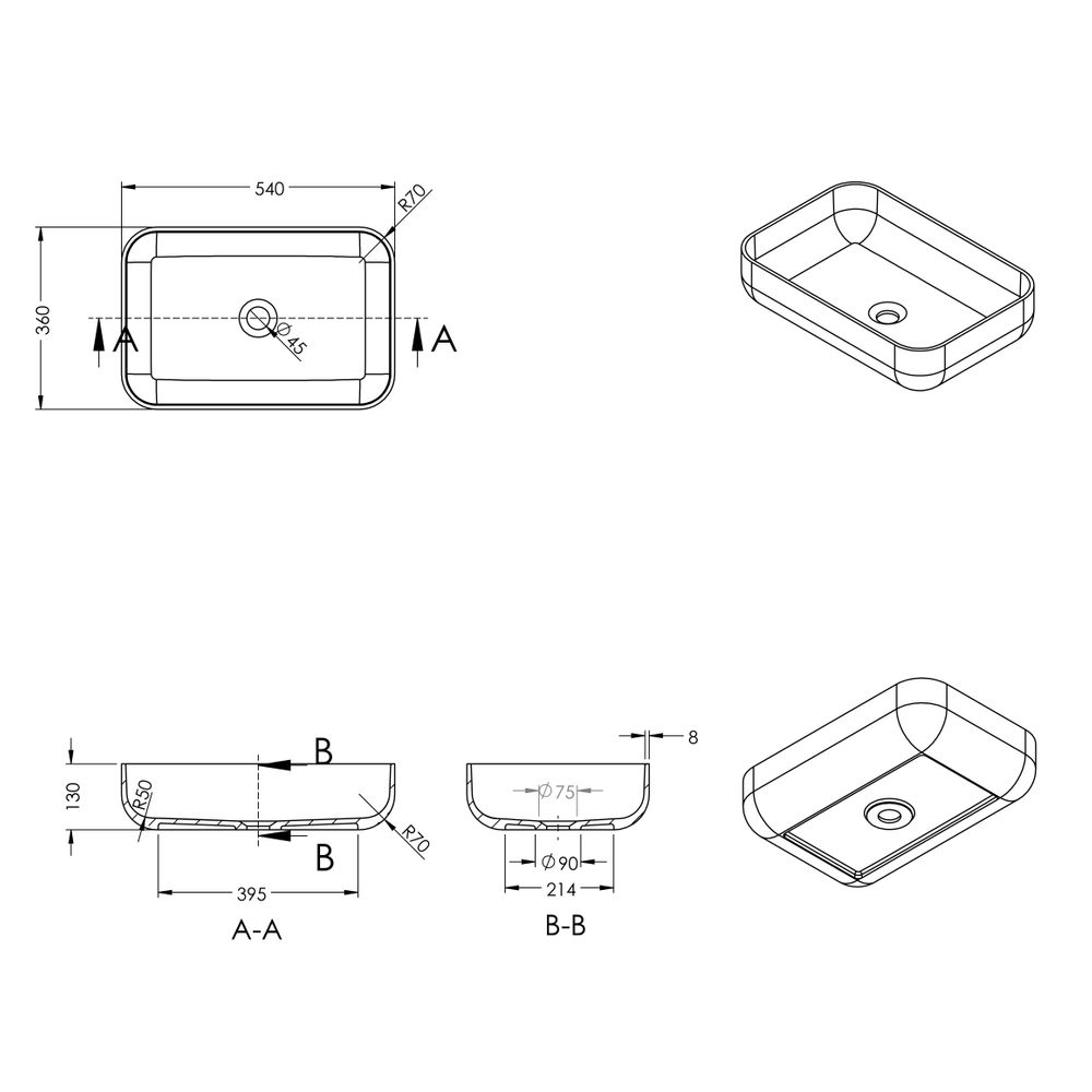 Aufsatzwaschbecken PB2133 aus Mineralguss - in Weiß oder Schwarz - 54 x 36 x 13 cm – Bild 4
