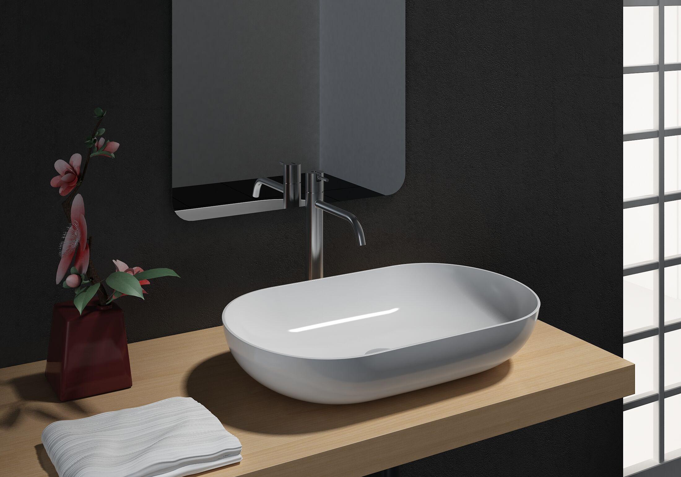 Vasque à Poser O 540 En Fonte Minérale Pierre De Synthèse