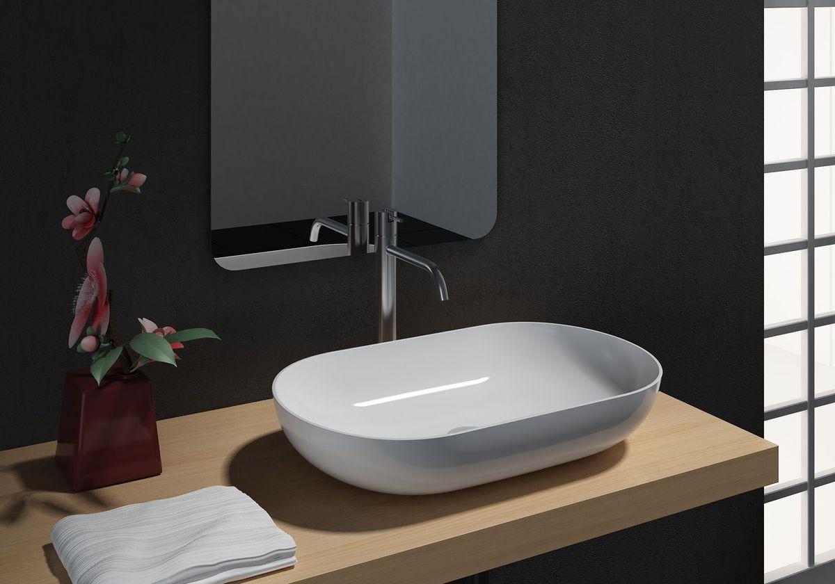 Countertop basin O-540 of mineral cast (Solid stone) - glossy white - 54 x 34 x 10,5 cm – Bild 1