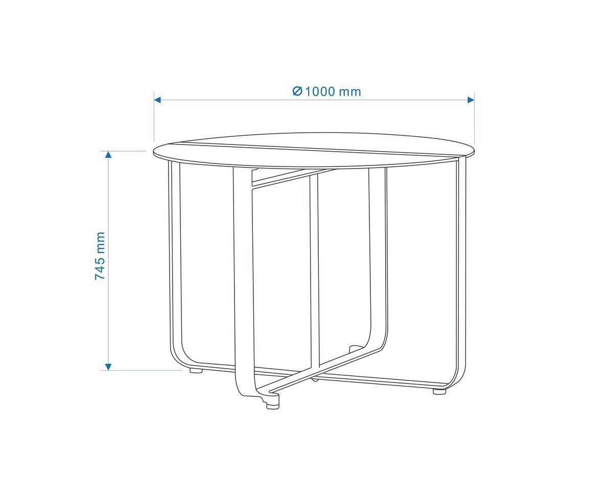 BERNSTEIN Garten-Esstischgruppe CLINT - Gartenmöbel-Set Alu/Textil Weiß (5-teilig) – Bild 4
