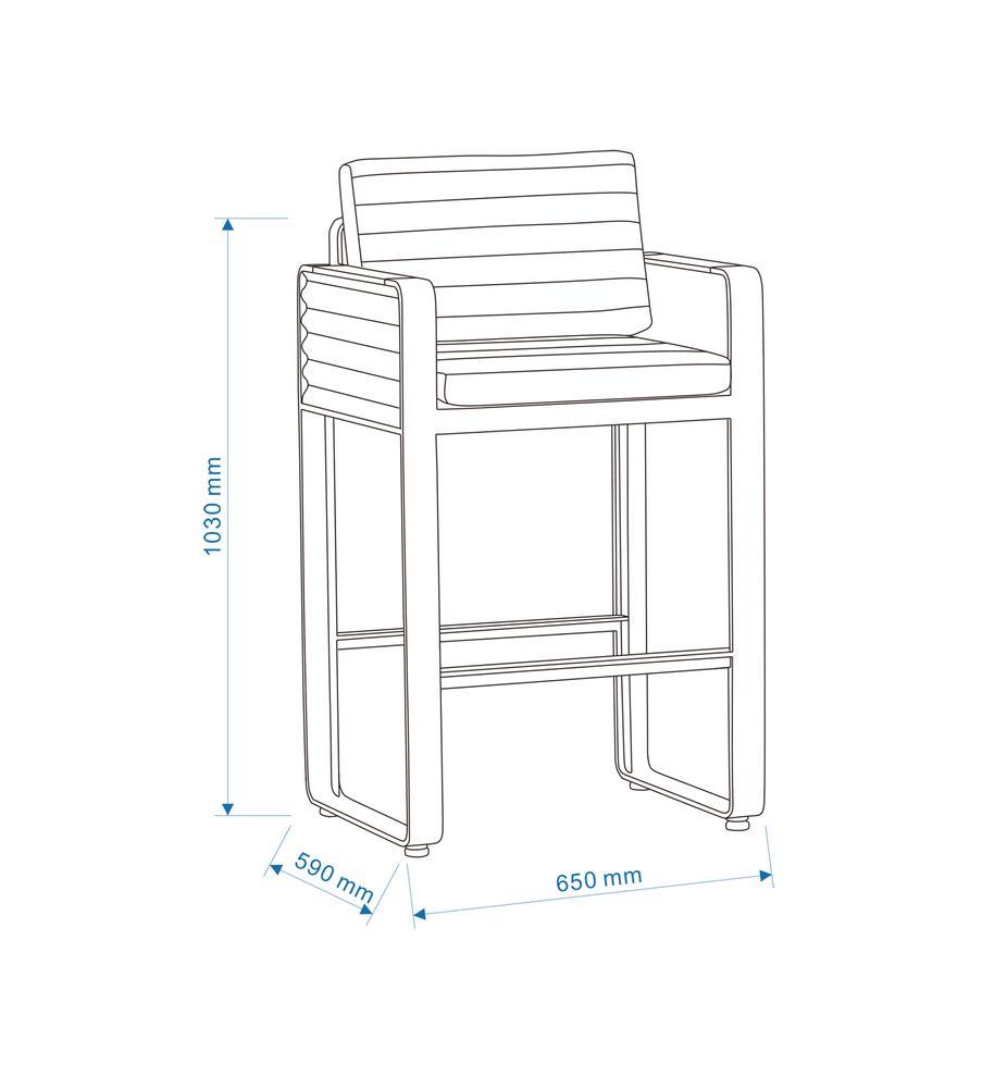 Gartenmöbel-Set Gartenbar Set AIRPORT - Bar Set aus Alu/Textil - Garten Barhocker zur Auswahl – Bild 8