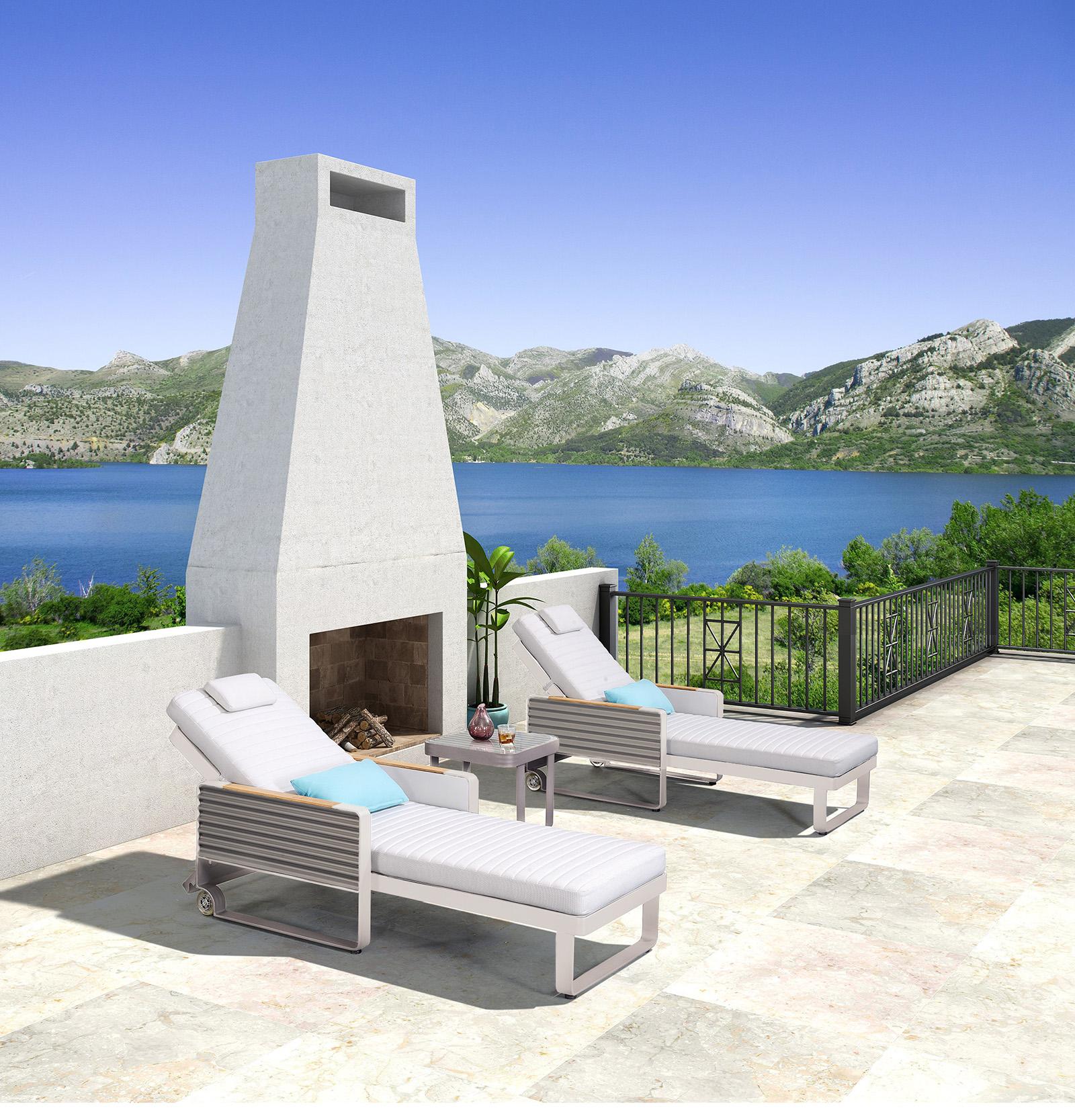 Gartenliegen Sonnenliegen Set AIRPORT Alu/Textil - 2er Set Loungeliegen - Beistelltisch optional