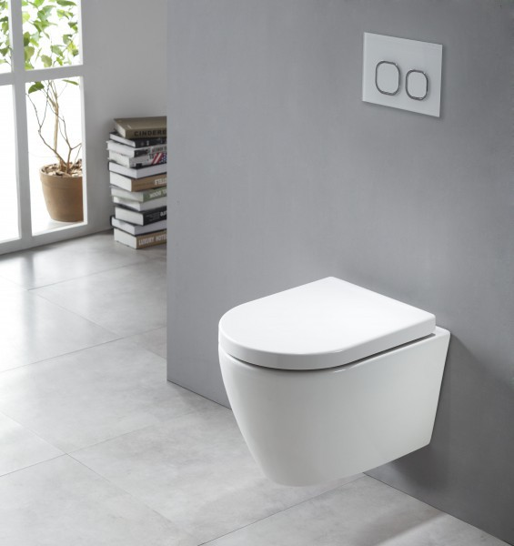 Wall-hung rimless toilet with NANO coating - Soft close toilet seat - B-8030R white – Bild 1