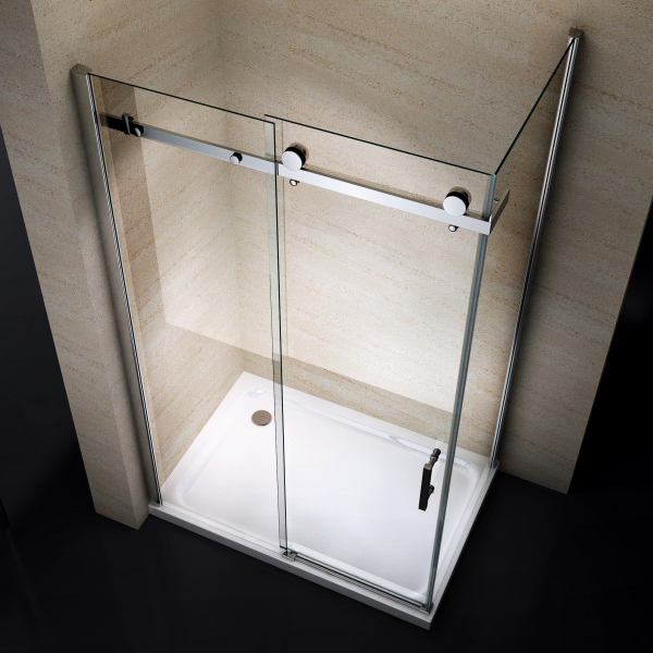 Corner shower enclosure with a fixed glass panel and sliding door - 6mm - EX802 - 80 x 100 x 195 cm – Bild 2