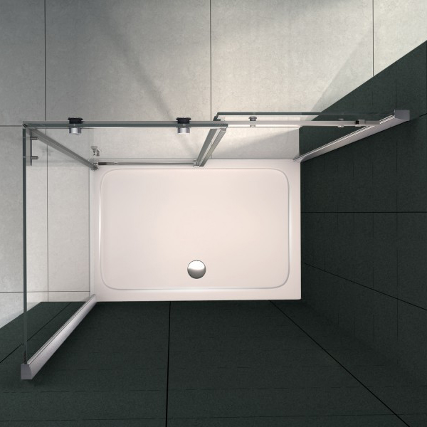 Corner shower enclosure with a fixed glass panel and sliding door - 6mm - EX802 - 80 x 100 x 195 cm – Bild 3