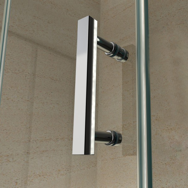 Corner shower enclosure with a fixed glass panel and sliding door - 6mm - EX802 - 80 x 100 x 195 cm – Bild 7