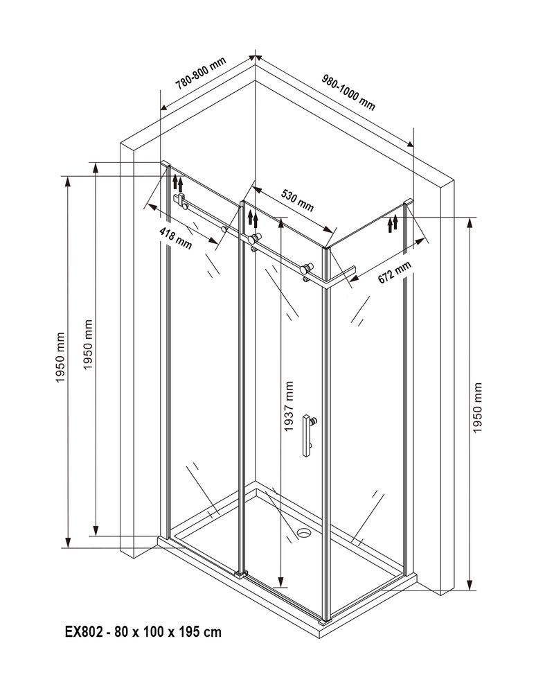 Corner shower enclosure with a fixed glass panel and sliding door - 6mm - EX802 - 80 x 100 x 195 cm – Bild 8