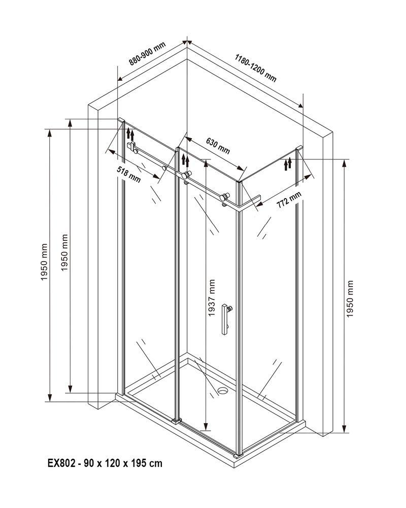 Duschkabine Schiebetür Nano 6mm Echtglas EX802 - 90 x 120 x 195 cm – Bild 8