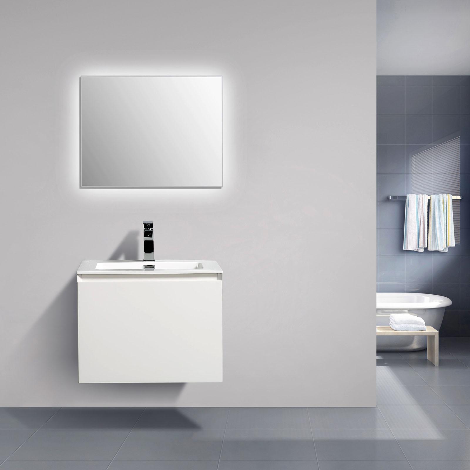 Peut On Mettre Du Mdf Dans Une Salle De Bain ~ meuble de salle de bain luna 600 blanc mat miroir en option le
