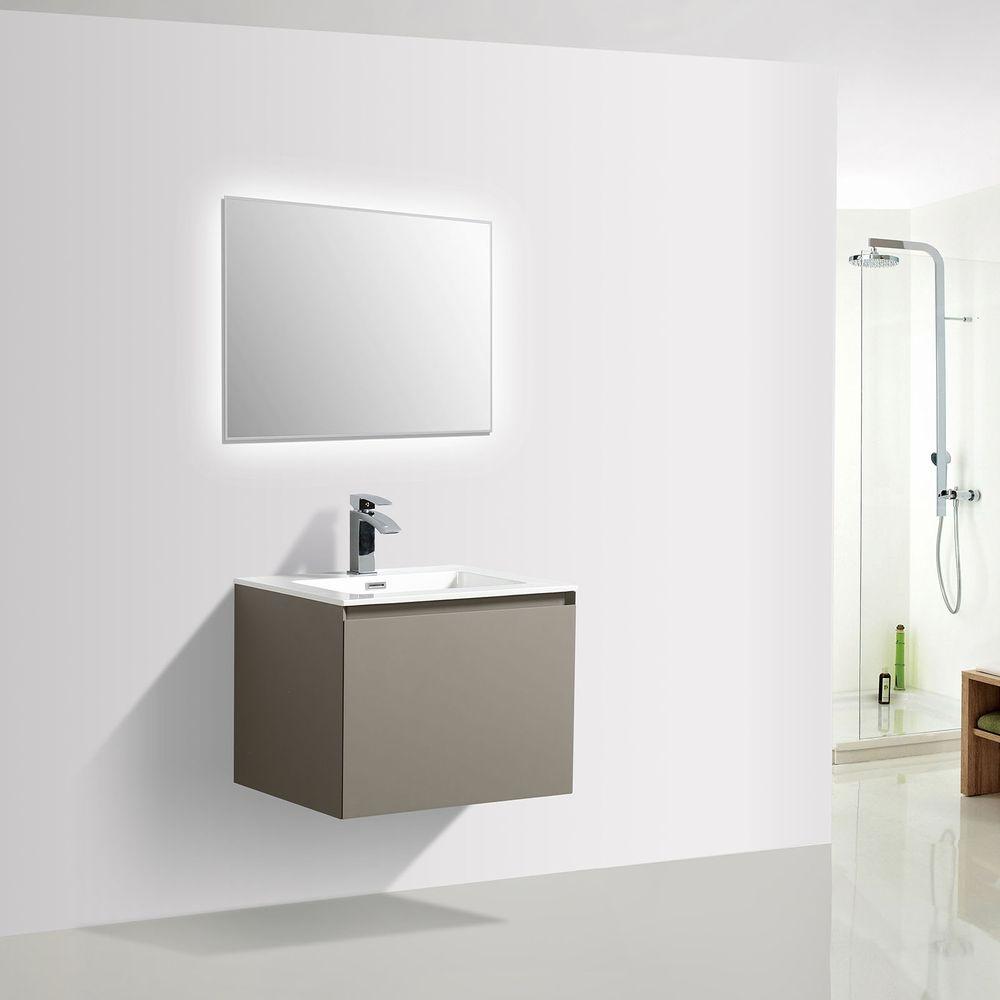 Badmöbel-Set Luna 600 Grau matt - Spiegel optional – Bild 2