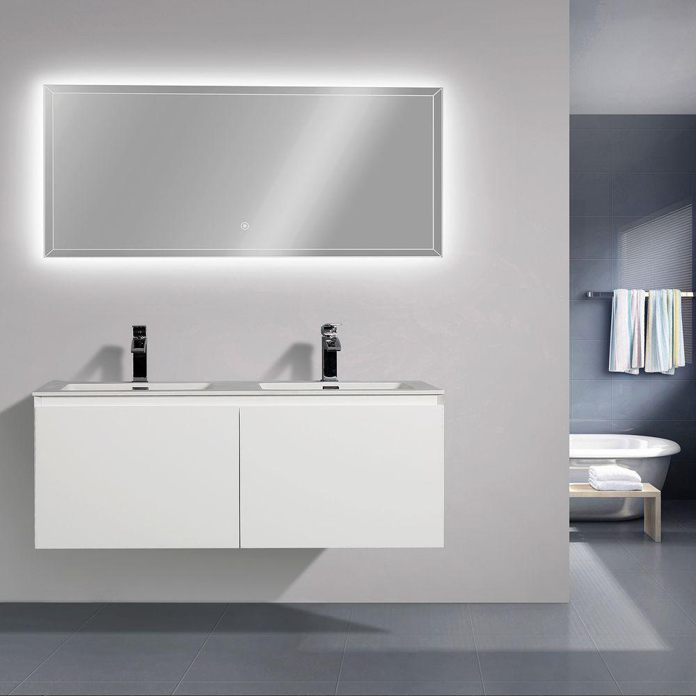 Meuble de salle de bain Luna 1200 blanc mat - Miroir en option – Bild 2