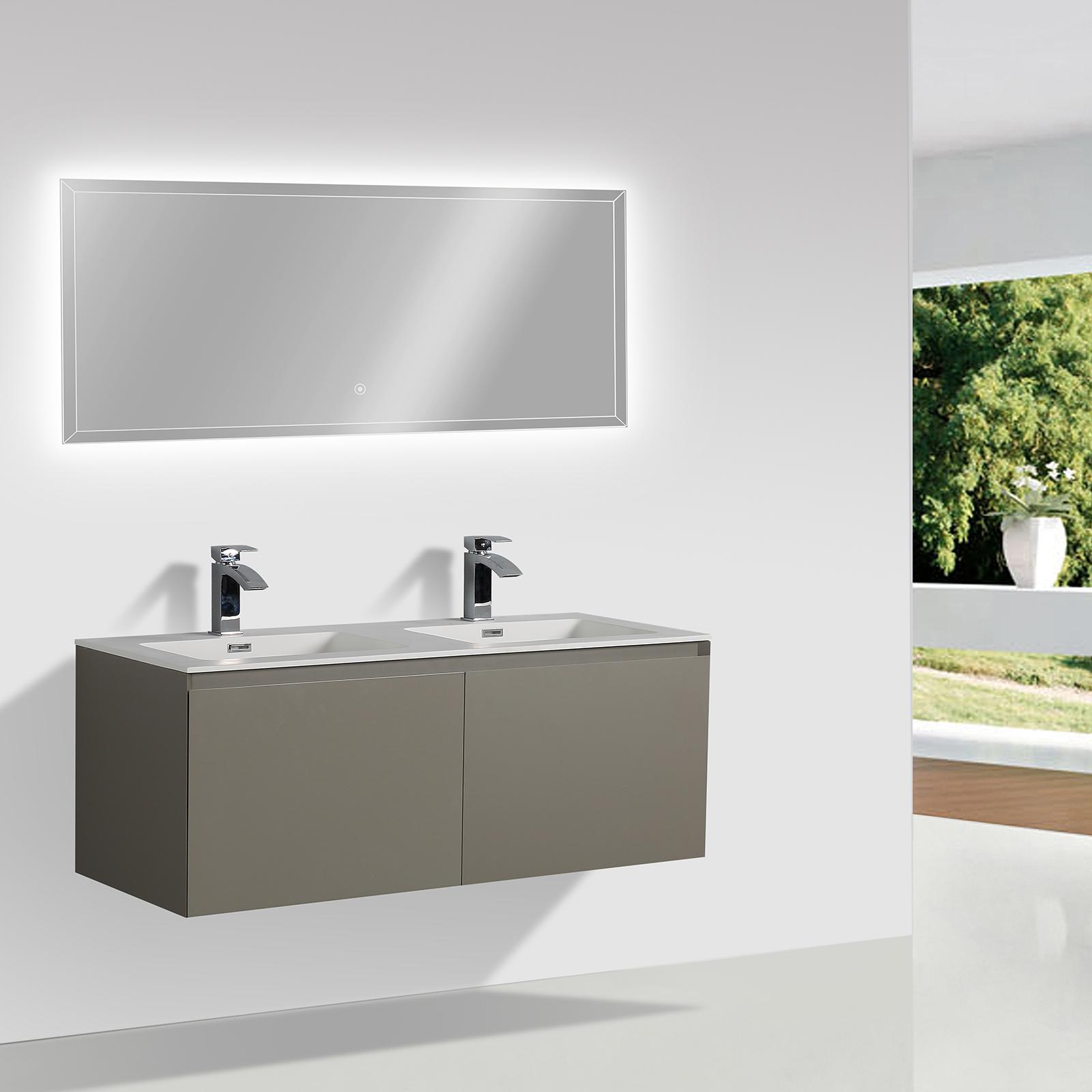 Mobile bagno Luna 1200 grigio opaco - Specchio opzionale Boutique ...