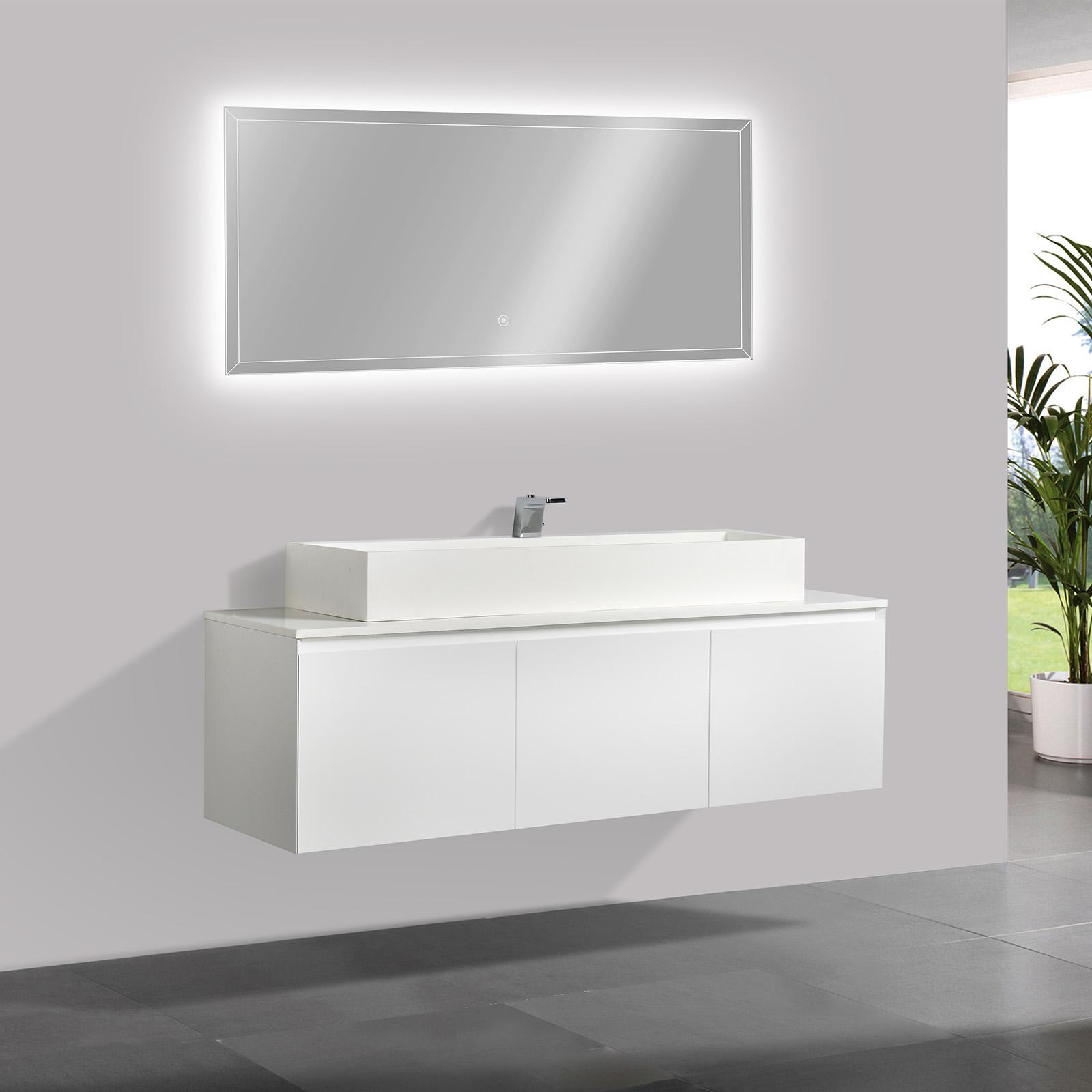 vasque avec meuble Meuble de salle de bain Luna 1600 blanc mat avec plan vasque en solid  surface - vasque u0026 miroir disponible en option