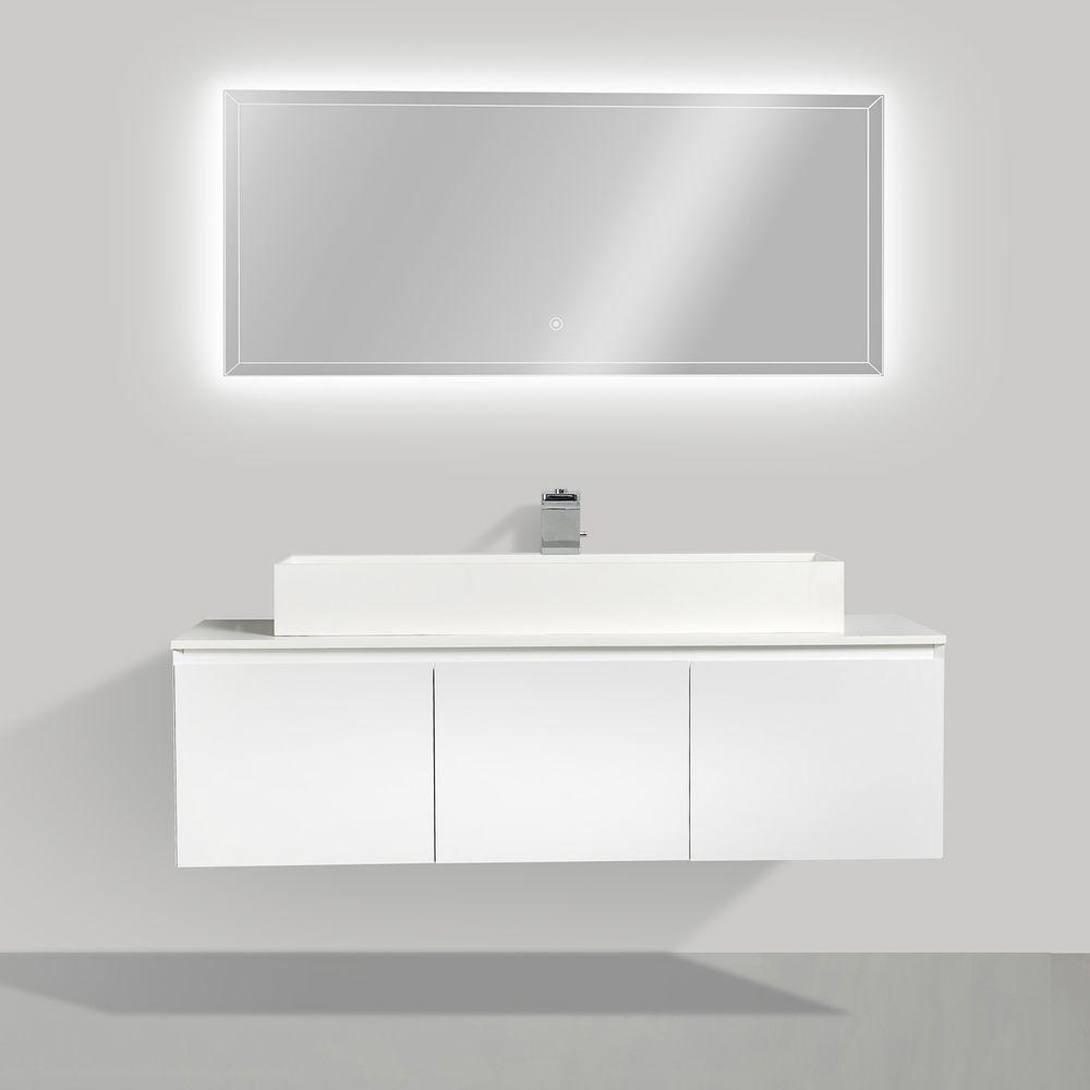 Meuble de salle de bain Luna 1600 blanc mat avec plan vasque en solid surface - vasque & miroir disponible en option – Bild 2