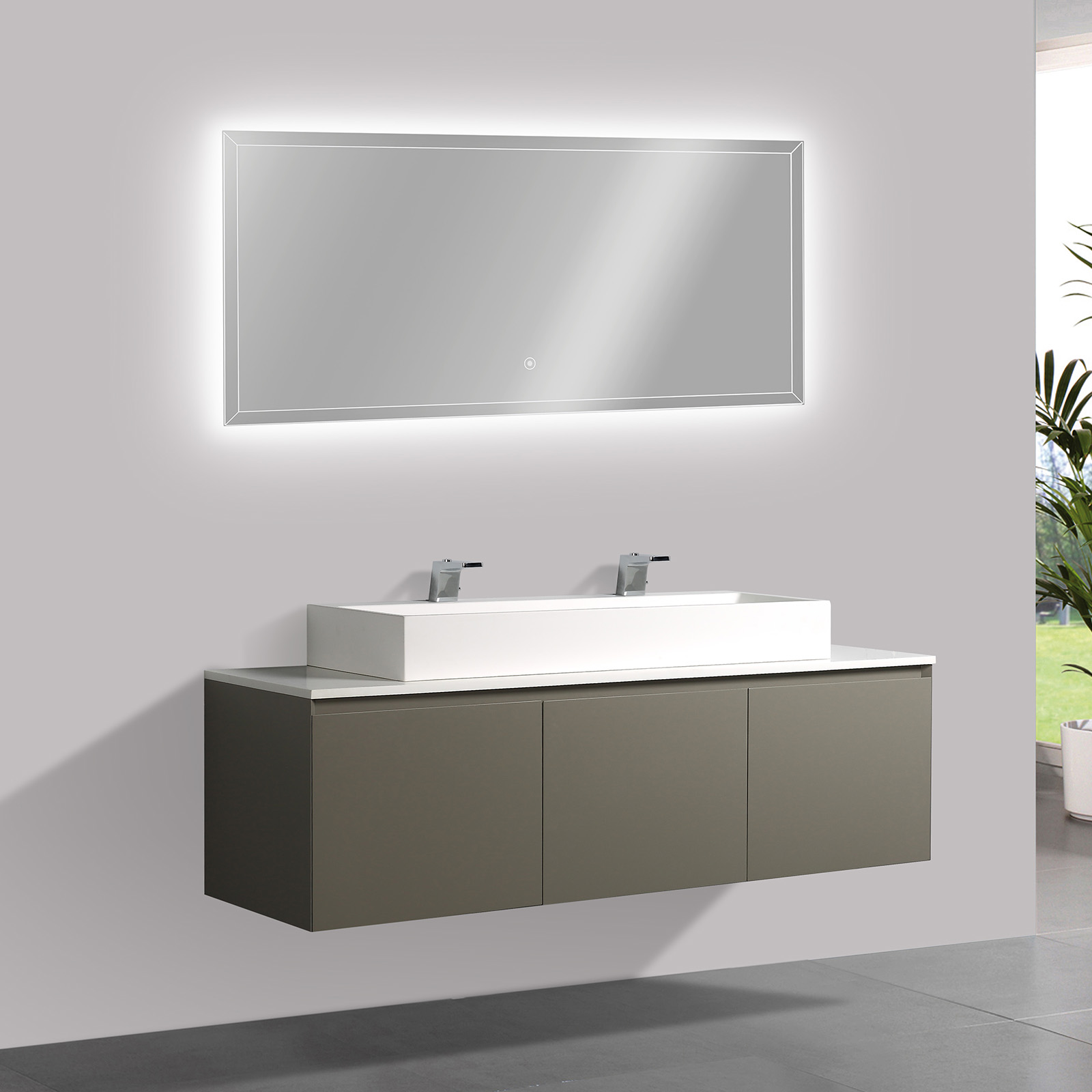 Bathroom Furniture Set Luna 1600 Matte Grey Solid