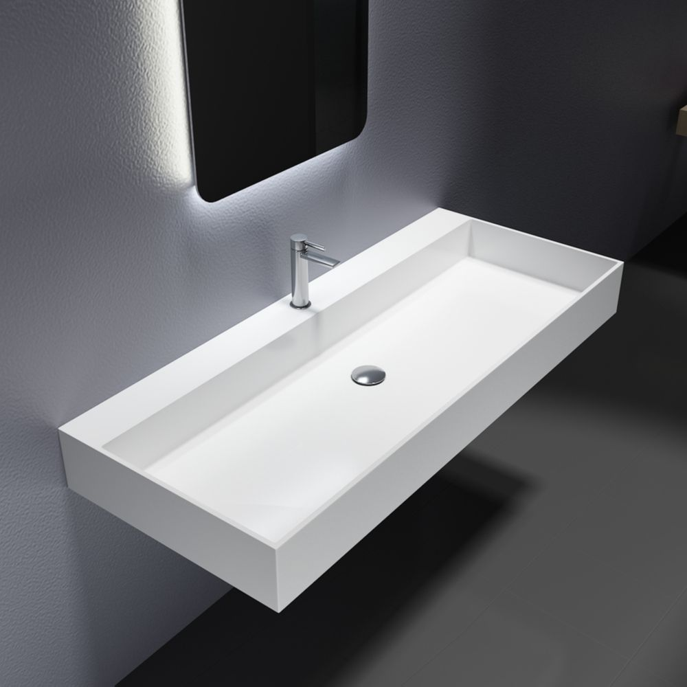 Wall-mounted or countertop washbasin PB2215 of solid surface (Solid Stone) - 120 x 50 x 13 cm - matte white – Bild 1