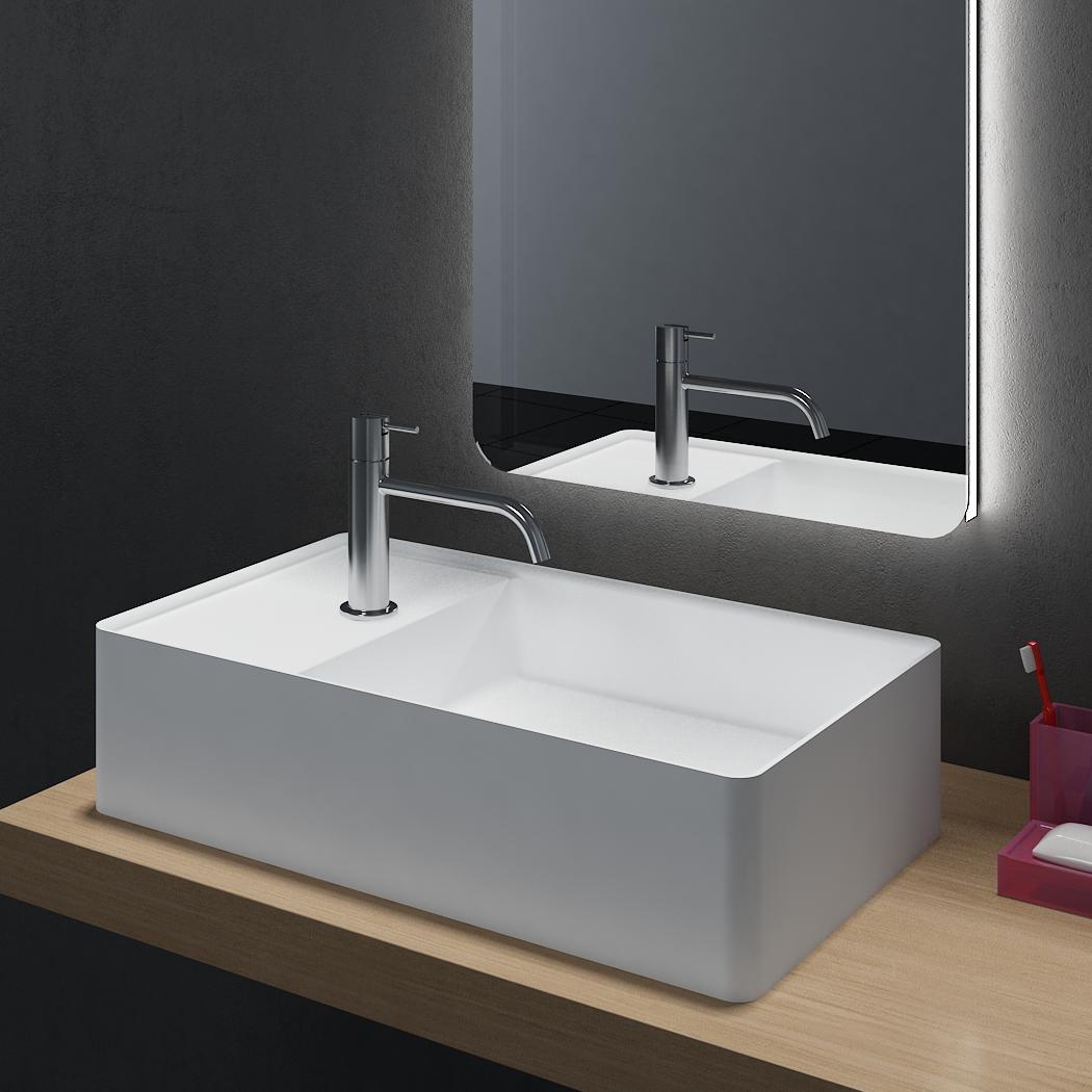 Aufsatzwaschbecken PB2076 aus Mineralguss Solid Stone - 60 x 36 x 15 cm - Weiß Matt