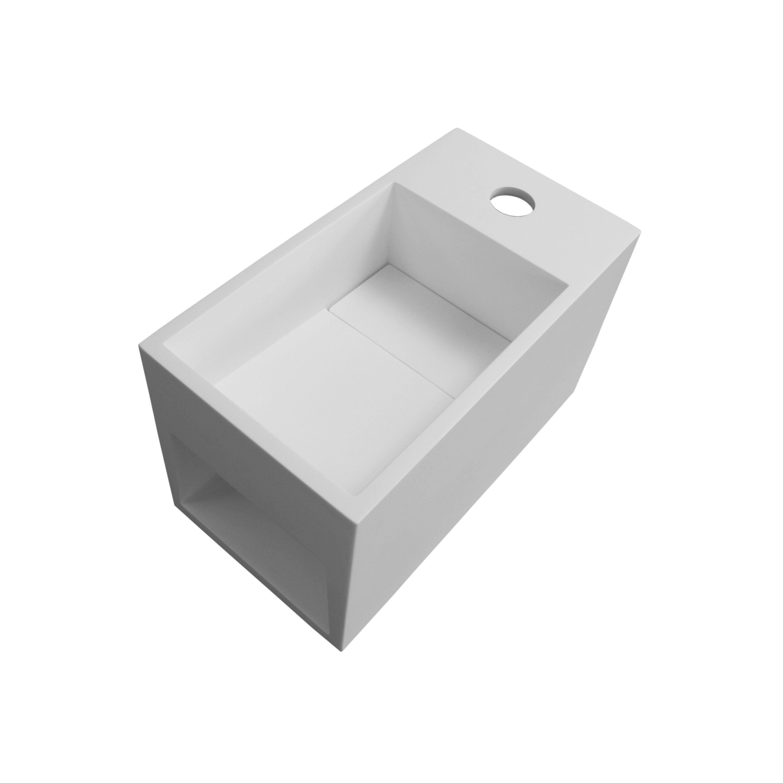 Wandwaschbecken PB2046 aus Mineralguss Solid Stone mit seitlichem Ablagefach - 33 x 18 x 20,5 cm – Weiß matt