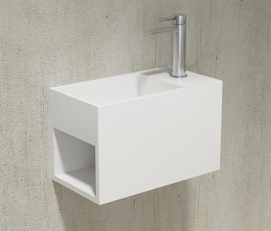 Wandwaschbecken PB2046 aus Mineralguss Solid Stone mit seitlichem Ablagefach - 33 x 18 x 20,5 cm – Weiß matt – Bild 4