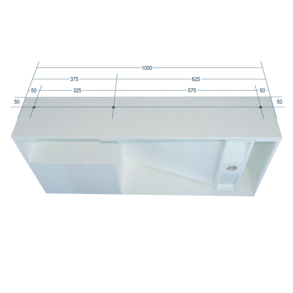 Wall-mounted or countertop washbasin PB2089 with side storage compartment - Solid Stone - 100x46x20cm - matte white – Bild 7