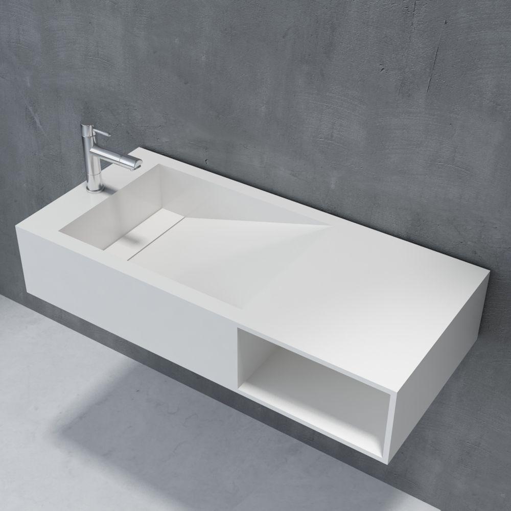Lavabo suspendu ou vasque à poser en pierre de synthèse espace de rangement PB2089 100x46x20cm- blanc mat – Bild 1