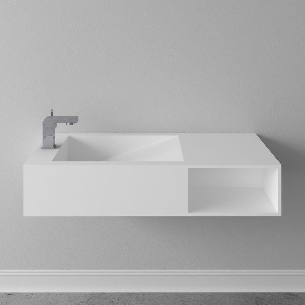 Lavabo suspendu ou vasque à poser en pierre de synthèse espace de rangement PB2089 100x46x20cm- blanc mat – Bild 6
