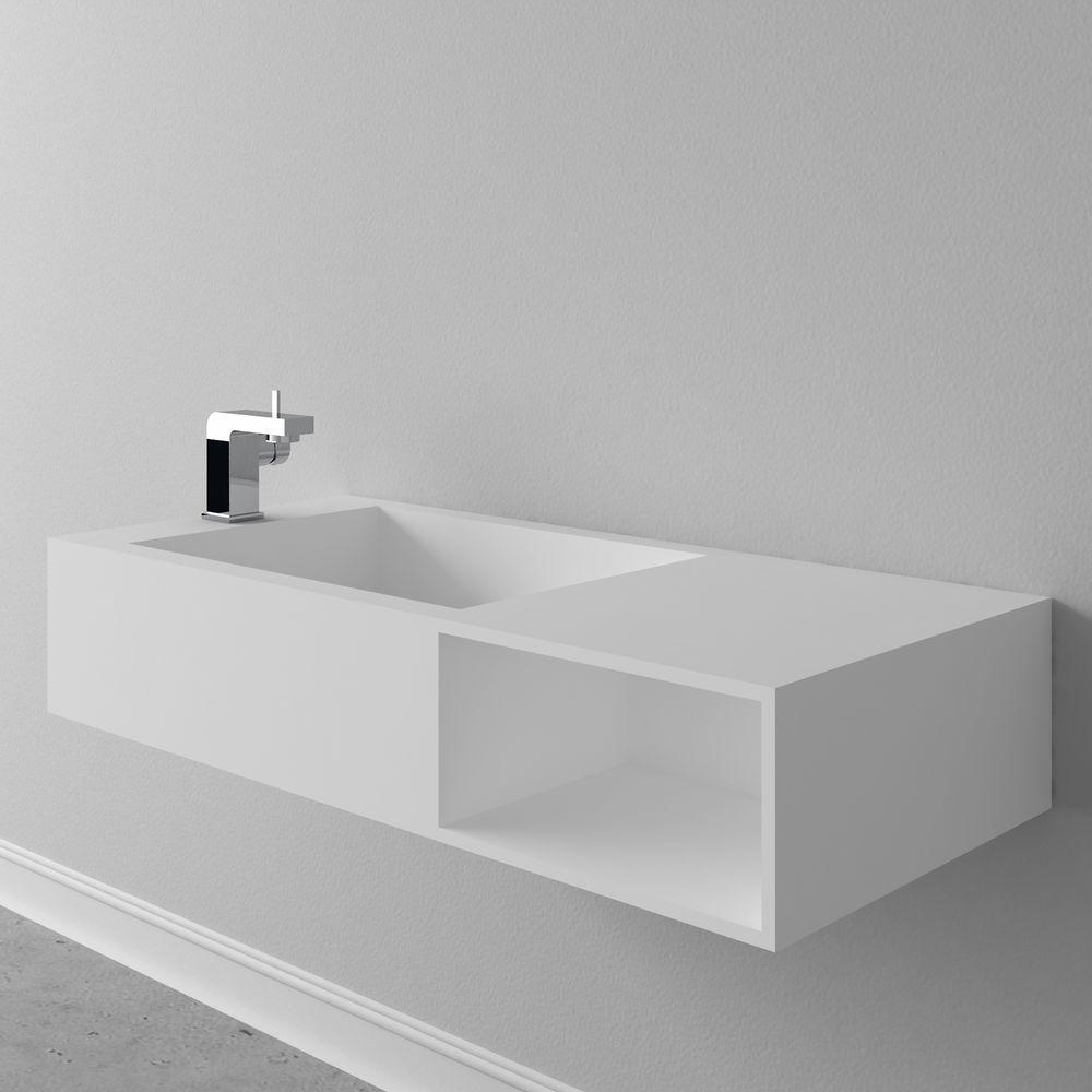 Wandwaschbecken Aufsatzwaschbecken PB2089 mit Ablaufabdeckung und Ablagefach aus Mineralguss Solid Stone – Weiß matt - 100 x 46 x 20 cm – Bild 5