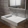 Wandwaschbecken  Waschbecken PB2155 aus Mineralguss Solid Stone mit Ablaufrinne – Weiß Matt -  100 x 50 x 12 cm  001