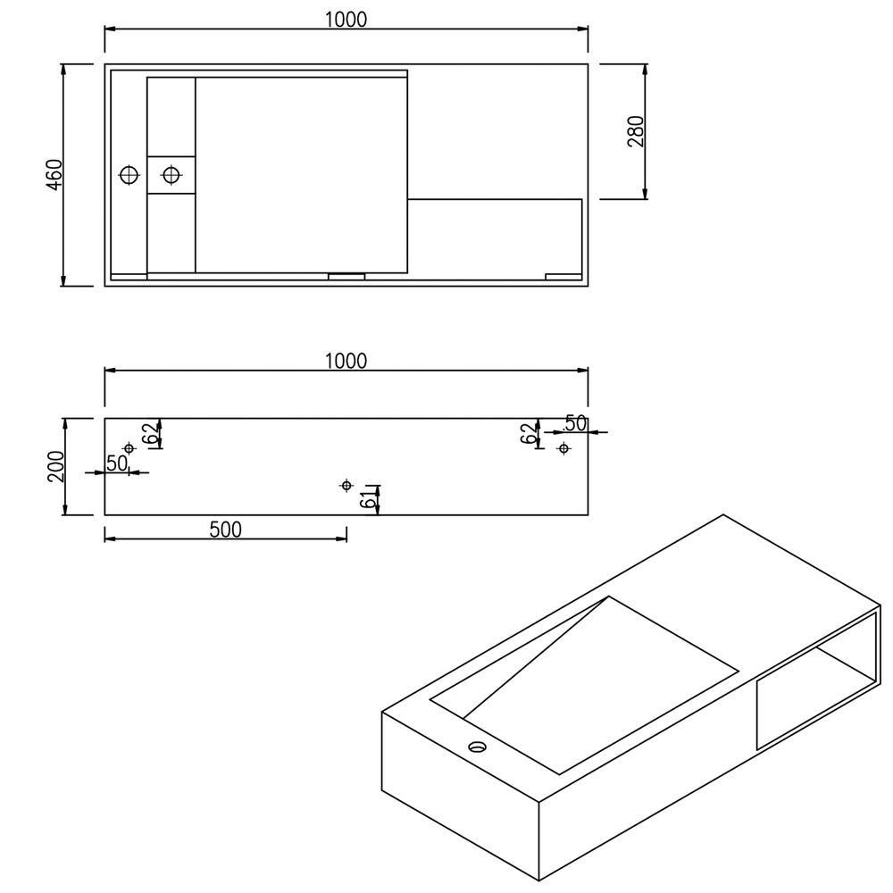 Vasque à poser ou murale PB2088 avec espace de rangement – blanc mat – 100 x 46 x 20 cm – Bild 6