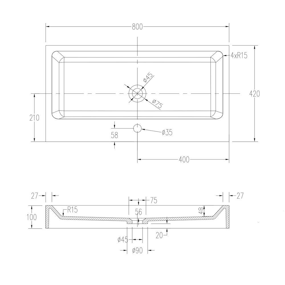 Vasque à poser ou lavabo à suspendre PB2143 en solide surface (Solid Stone) – blanc mat –  80 x 42 x 10 cm – Bild 5