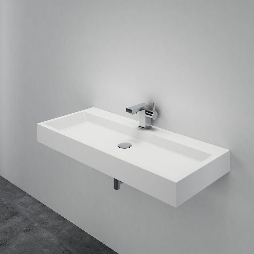 Waschbecken Hängewaschbecken PB2144 aus Mineralguss Solid Stone – Weiß Matt – 100 x 42 x 10 cm – Bild 4