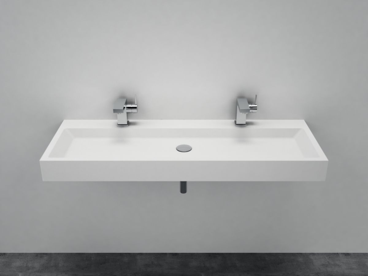 Wall-mounted or countertop washbasin PB2145  of solid surface (Solid Stone) – matte white –   120 x 50 x 11 cm – Bild 2