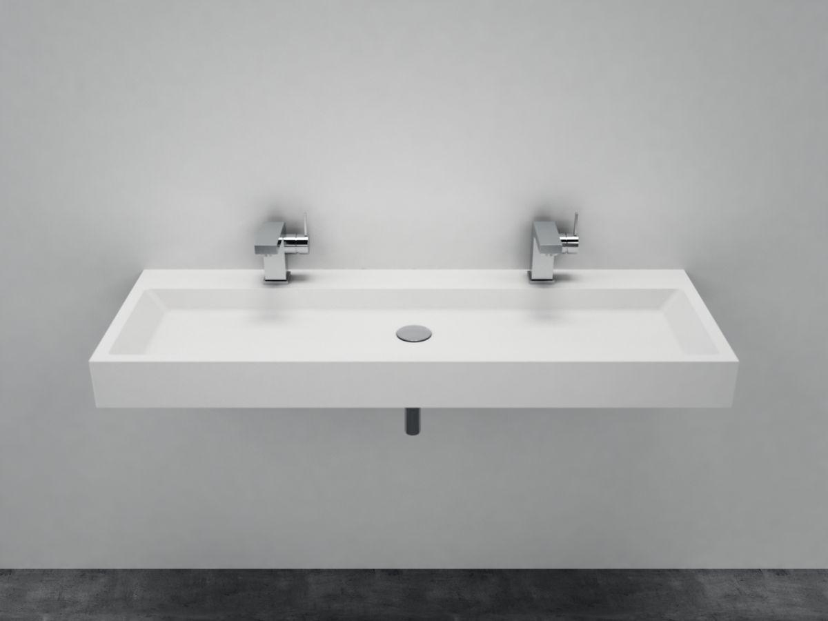 Vasque à poser ou pour montage mural PB2145 en pierre solide  - blanc mat - 120 x 50 x 11 cm – Bild 2