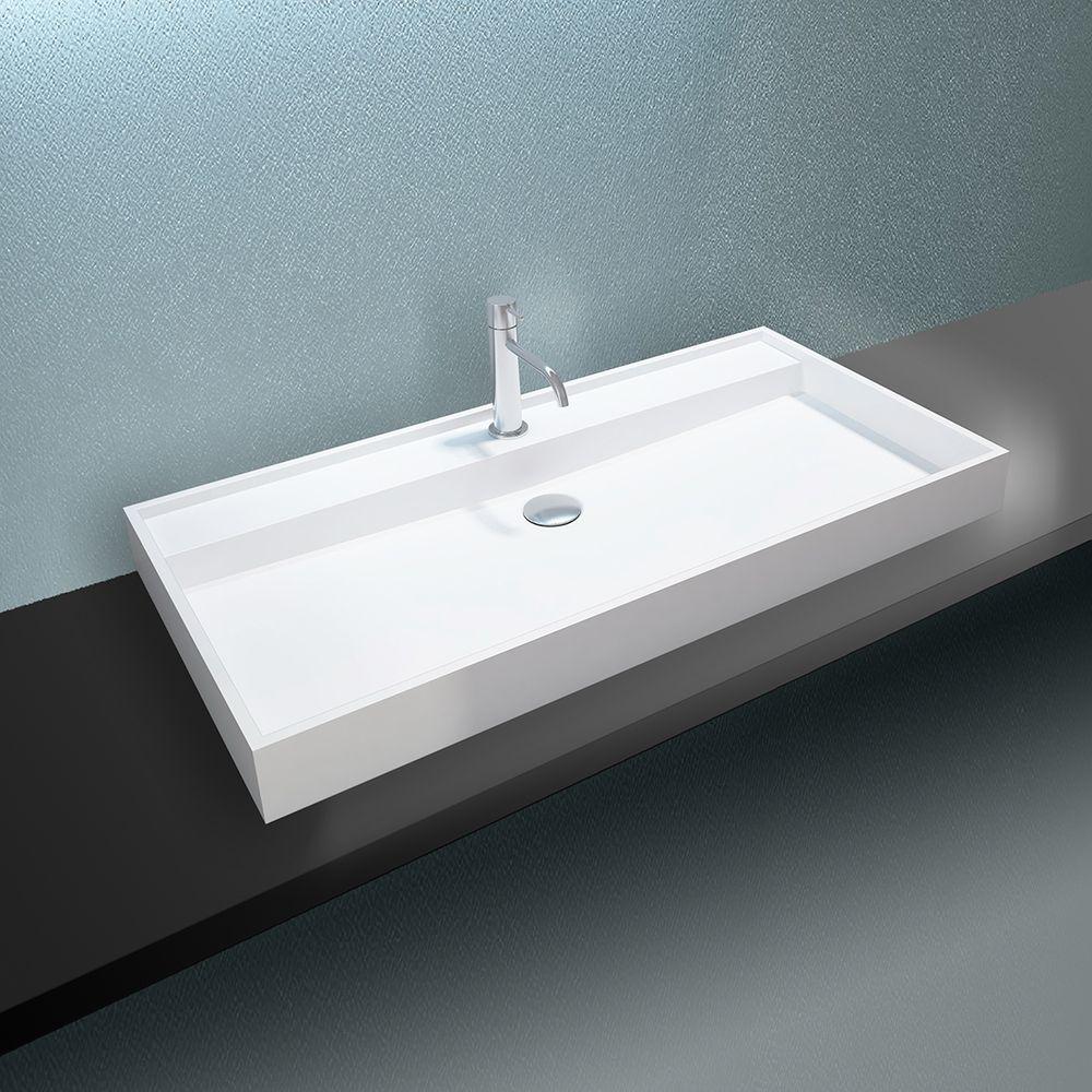 Vasque à poser ou pour montage mural PB2007 en pierre solide  - blanc mat - 90 x 45 x 10 cm – Bild 1