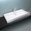 Aufsatzwaschbecken Wandwaschbecken PB2007 aus Mineralguss Solid Stone – Weiß Matt – 90 x 45 x 10 cm