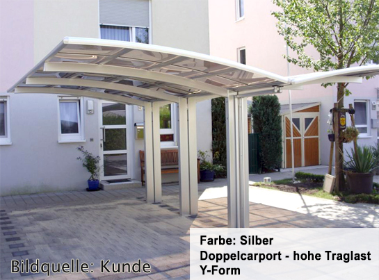 BERNSTEIN Doppelcarport Aluminium freistehend - Farbe wählbar – Bild 2