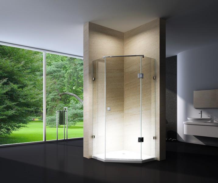 Paroi de douche sans cadre pentagonale en verre véritable NANO EX415 - 80x80x195cm