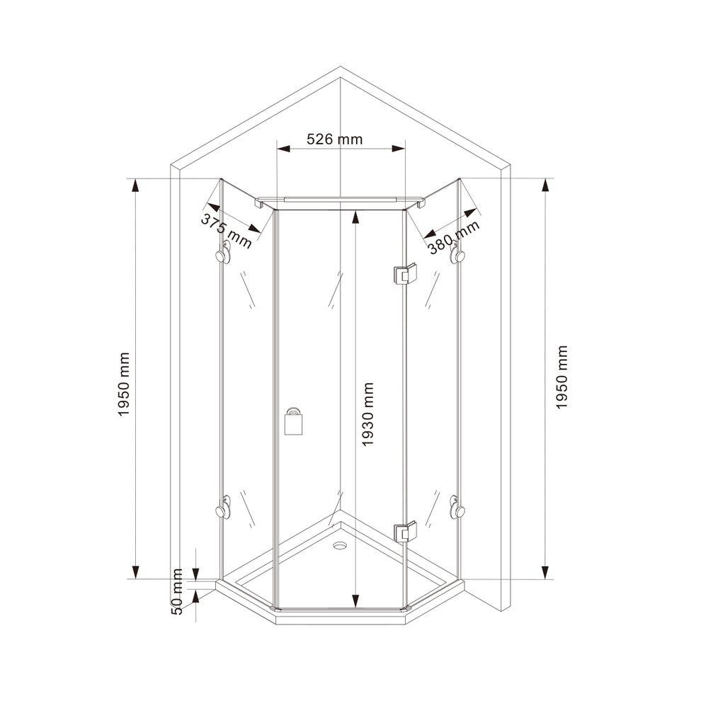 Paroi de douche sans cadre pentagonale en verre véritable NANO EX415 - 80x80x195cm – Bild 4