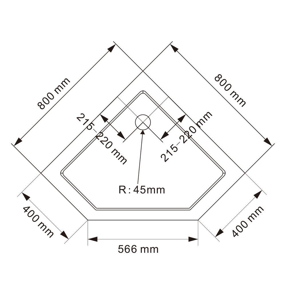 Paroi de douche sans cadre pentagonale en verre véritable NANO EX415 - 80x80x195cm – Bild 5