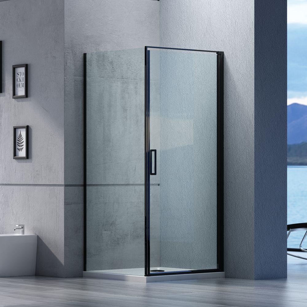 Duschkabine Eckdusche Nano Echtglas EX416S Schwarz - 90 x 90 x 195 cm – Bild 1