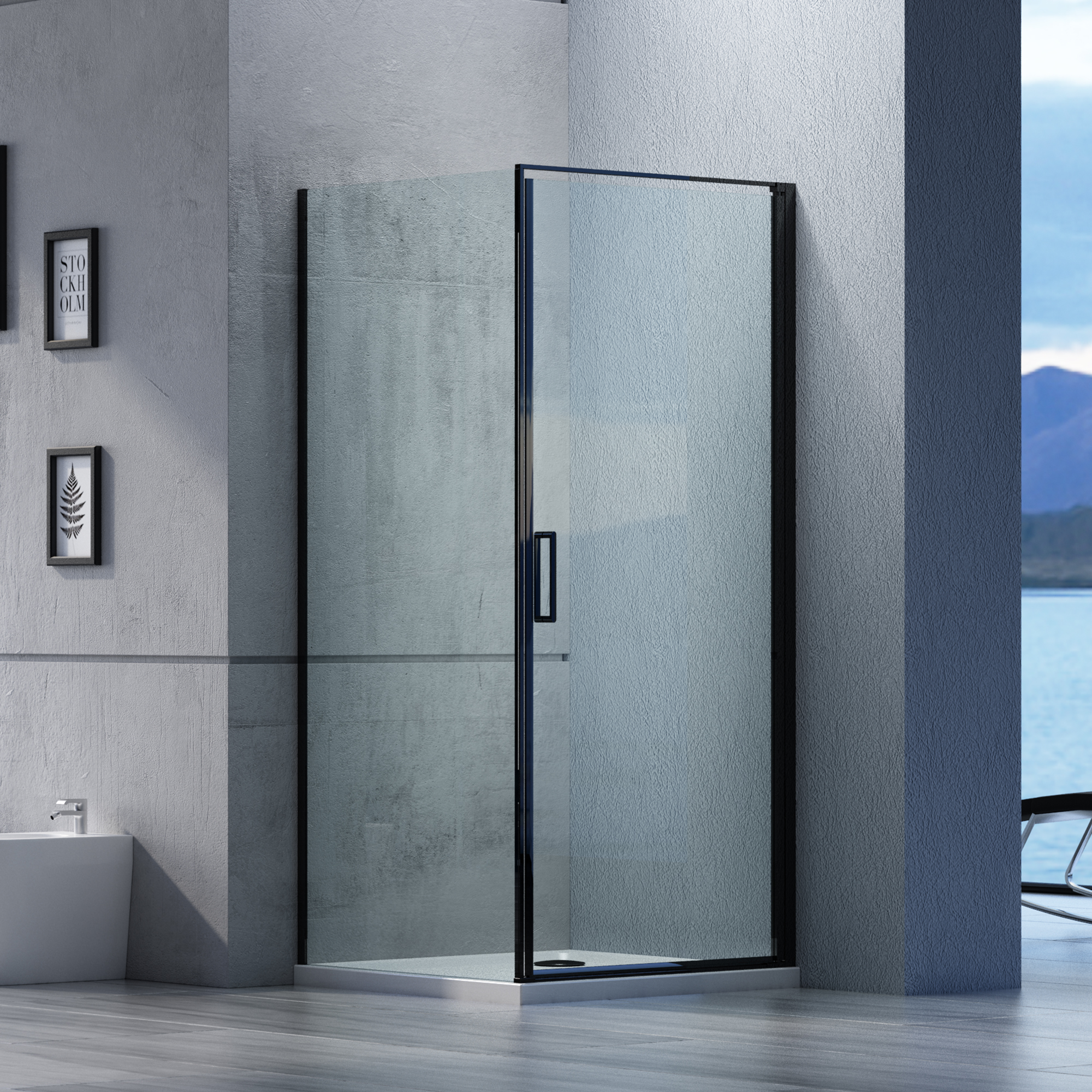 Corner shower enclosure EX416S Black - NANO coating - 6mm ...
