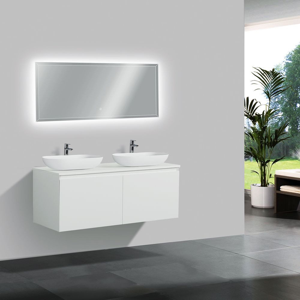 Wall-hung bathroom furniture set Luna 1200 with countertop  - matte white - optional mirror and countertop basin – Bild 1