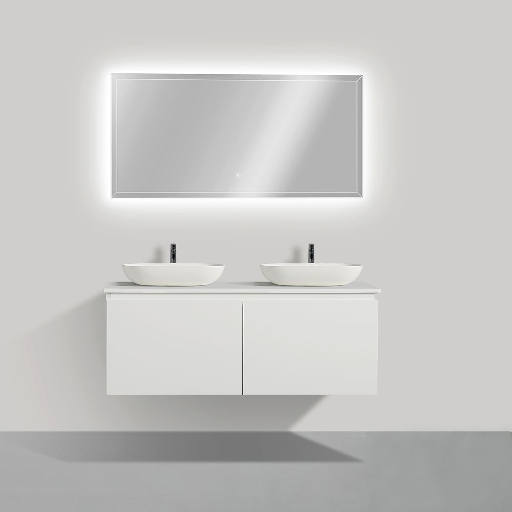 Wall-hung bathroom furniture set Luna 1200 with countertop  - matte white - optional mirror and countertop basin – Bild 2